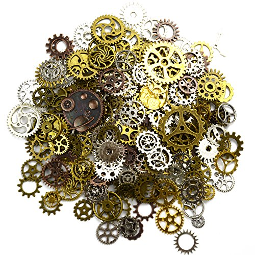 Makhry steampunk style cosplay making accessories,be a hit in any cosplay party Material:Metal alloy - lead safe Color:4 Mixed Color (Antiuqe Bronze,Antique Gold/,Antique Silver and Antique Copper / Brass finish,never fade Suit for use as necklace pe...