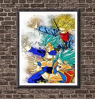 MS Fun SSJ Family Dragon Fighter Print Anime Colorful Canvas Art Print Goku Vegeta Gohan Goten Trunks