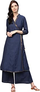 Bhama Couture Women's Cotton Angrakha Salwar Suit Set (Pack of 2)
