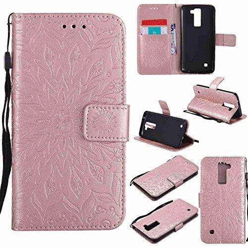 Guran® PU Leder Tasche Etui für LG K8 Smartphone Flip Cover Stand Hülle und Karte Slot Case-Rosé Gold…