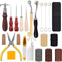 HEALLILY Leather Working Tools Kit Leather Making Sewing Stamping Tools Needle Thimbles Stitching Groover for DIY Leather Craft 44Pcs