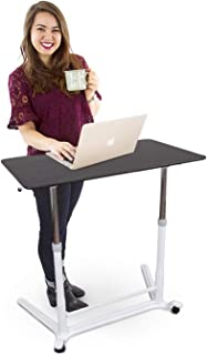 Stand Steady Height Adjustable Standing Computer Desk with Wheels – Sit to Stand up Workstation/Training Table with Storage Drawer– Great for Classrooms, Offices, Home and More (37.5 x 20.5)
