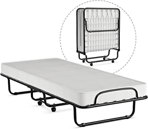 GOFLAME Folding Bed with Memory Foam Mattress, Portable Bed Cot Size with Metal Frame and Wheels for Kids and Adults, Rollaway Guest Bed for Home and Office, Made in Italy