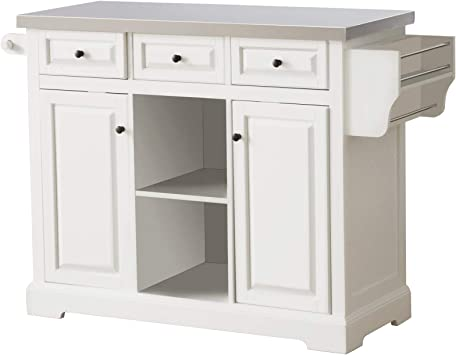 Amazon Com Homcom Rolling Kitchen Island With Stainless Steel Top Utility Portable Multi Storage Cart On Wheels White Kitchen Islands Carts