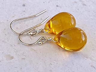 Golden Honey Amber Wire Wrapped Glass Drop Earrings - Sterling Silver - Jewelry Gift For Women