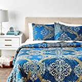 Tache Home Fashion Navy Blue Damask Gold Yellow Paisley Modern Star Gazing Pattern Luxury Microfiber Duvet Cover Zipper Closure Tie Ribbons Wrinkle Free 3 Piece Set, King