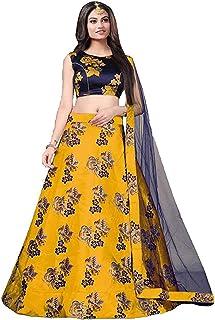 فستان Lehenga Choli من حرير الجوت الأصفر للسيدات شبه مخيط