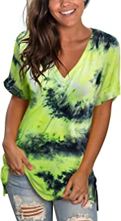 deqiang Women's V Neck T Shirts Short Sleeve Side Split Summer Casual Tops