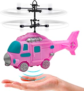 HAOMARK Toys Gifts for 6 7 8 9 Year Old Girls,Pink Flying Fairy Helicopter Ball Drone Toy with Hands Free Operated