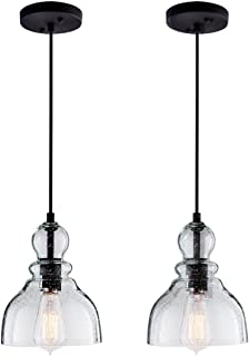 Lanros Industrial Mini Pendant Lights with Handblown Clear Seeded Glass Shade, Adjustable Cord Pendant Lighting for Kitchen Sink, Kitchen Island, Dining Room, Bars and Shops,2 Pack