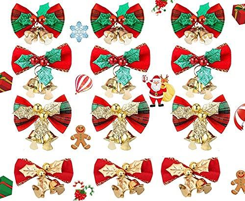 GIRAFEDA 12 Pezzi Nastro per Albero di Natale con Campane Fiocchi per Albero di Natale Tartan Albero Fiocco di Natale Rosso Oro Argento Fiocco Velluto Natale Fiocco Natalizio per Albero Fiocchi