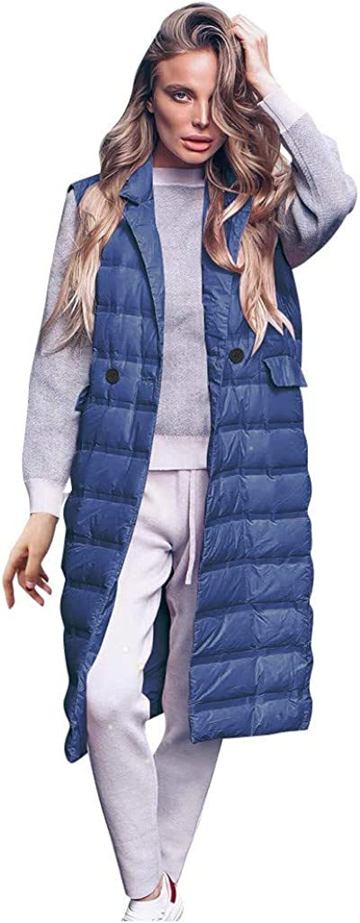 KYLEON Women's Coat Long Down Coat Vest Sleeveless Maxi Pea Coat Parkas Trench Coat Quilted Puffer Jacket Overcoat Outwear