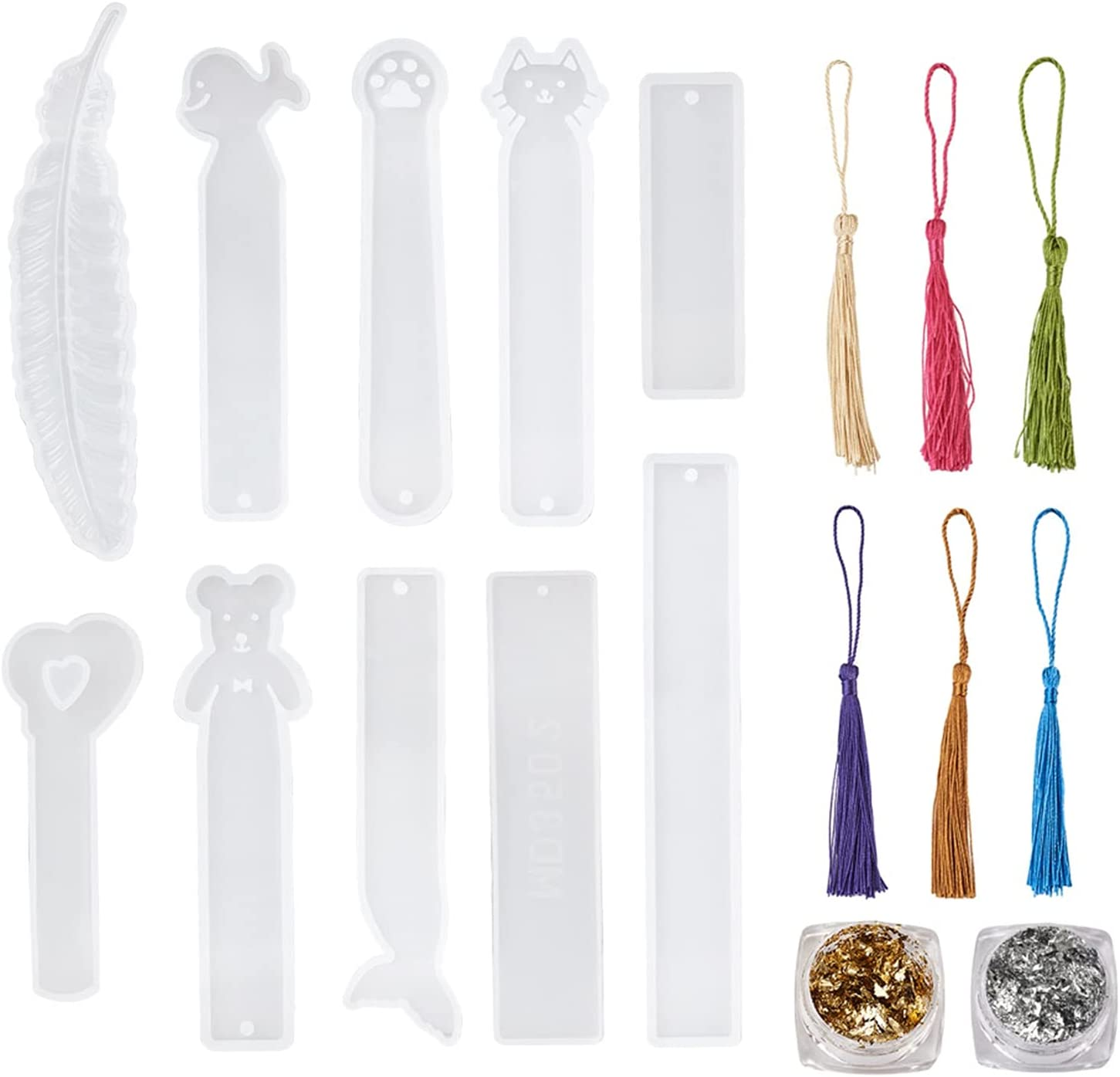 10pcs Bookmark Resin Mold with Tassels NEW Popular products before selling ☆ Colorful Rectangle 12pcs
