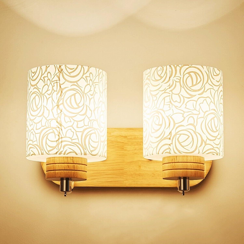 Nordic Holz LED Glas Wandleuchte, Europische Land Massivholz Wandleuchte Moderne Minimalistische Hotel Wohnzimmer Schlafzimmer Studie Dekorative Wandleuchte (Design   2 Kpfe)
