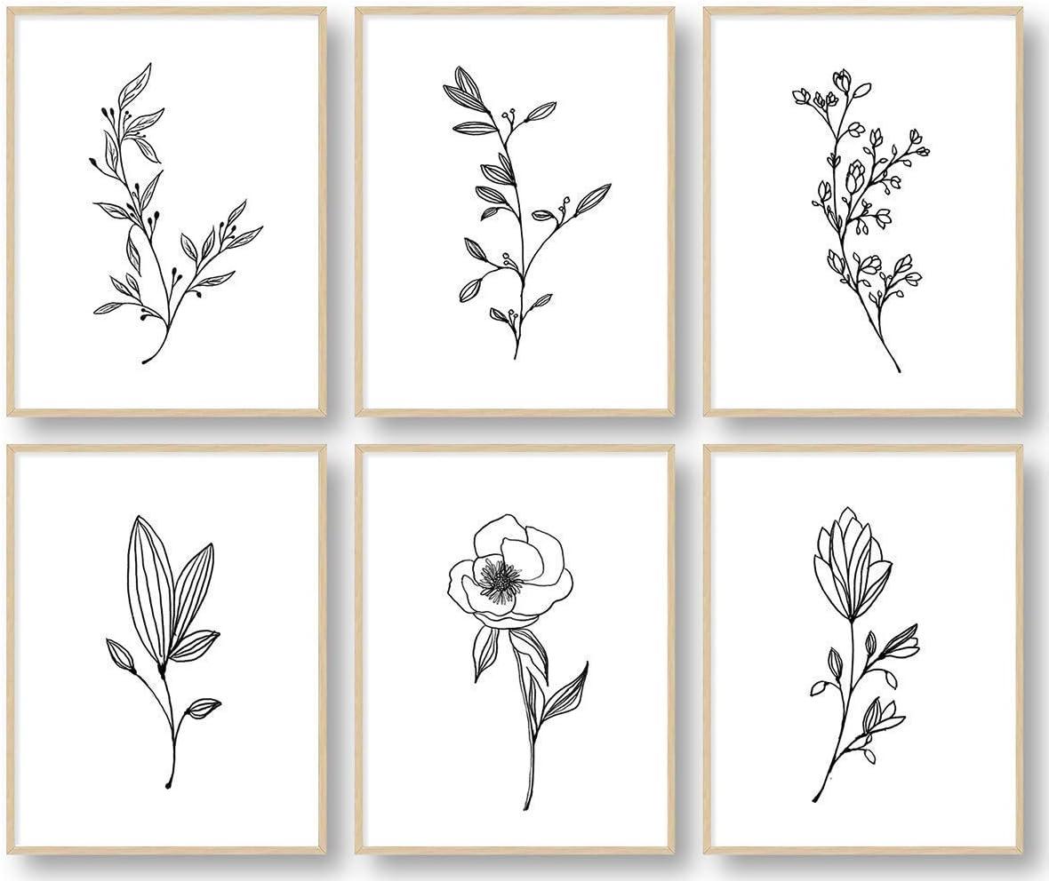 Amazon.com Botanical Plant Wall Art Prints, Minimalist Wall Art ...