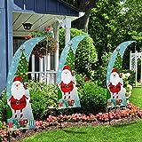 QSUM Christmas Swooper Feather Flag   Weihnachts Garten Flaggen Set, Dekorativ, Rasenflagge, Urlaub, Hofflaggen, Home Innen und Außen Decor