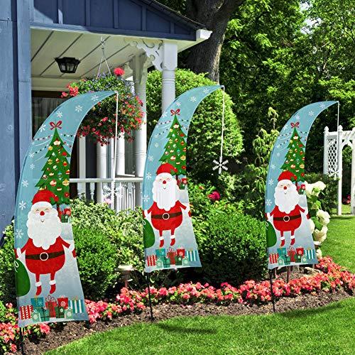 QSUM Christmas Swooper Feather Flag | Weihnachts Garten Flaggen Set, Dekorativ, Rasenflagge, Urlaub, Hofflaggen, Home Innen und Außen Decor
