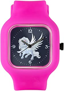 Bright Pink Fashion Sport Watch Cartoon White Winged Pegasus