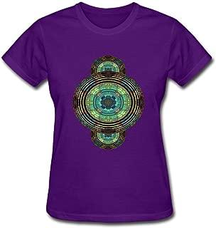 Rippled Mandala Ladie Purple Short Sleeve T Shirt