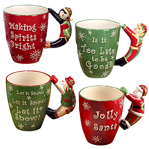 Certified International'Santa, Snowman, Elf & Penguin' 3D Handle Mugs (Set of 4), Multicolor