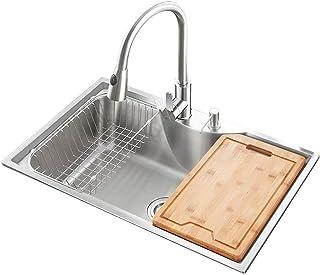 HomeLava Küchenspüle Moderne Einbauspüle Gebürstetem 304 Edelstahl Spülbecken Eckige Edelstahlspüle 775 x 475 mm für Küche mit Abtropfgestell, mit Seifenspender ohne Wasserhahn
