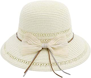 SHENTIANWEI Summer Folding Straw Hat Women's Straw Sun Hat Women Hand Hooks Anti-Bowknot Sun Cream Beach Hat