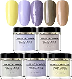 Dip Powder Nail Starter Kit Acrylic Dipping System 5PCS Candy Color Nude Acrylic Pigment Powder Without Lamp Cure Natural Dry Nail Art Mirror 10ml / Pot
