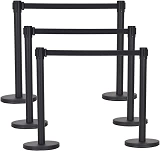 Goplus 6Pcs Stanchion Post Crowd Control Barrier with 6.5' Retractable Belt, Stainless Steel Stanchion Posts Queue Pole, 35