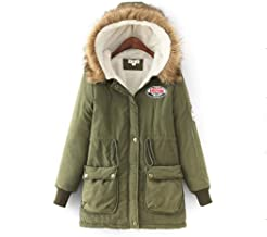 determina Women Drawstring Hooded Fur Collar Thickened Coat, Long Sleeve Patchwork Faux Fur Lined Parkas Fleece Outwear