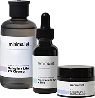Minimalist Oil Control Skincare Routine (Cleanse - Treat - Moisturize) | Combo of Salicylic Acid Face Wash, Niacinamide Se...