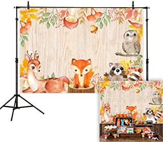 Allenjoy 7x5ft Autumn Woodland Backdrop Fall Maple Forest Fox Deer Animals Photography Background Thanksgiving Child Birthday Baby Shower Party Decoration Cake Table Banner Photo Studio Booth Props