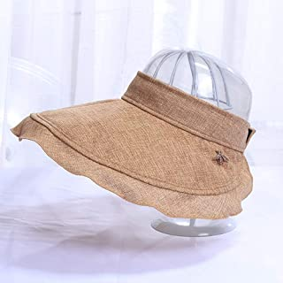 Asdfnfa Sun Hat Women's Summer Anti-UV Folding Beach Hat Fishing Hat Empty Top Hat (Color : Brown)