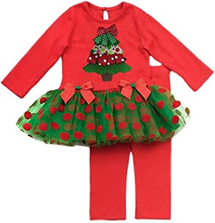 Girls Christmas Tree Holiday Dress Outfit Set, Red, 4 - 6X