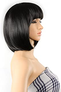 AGPTEK 13 Inches Straight Heat Resistant Short Bob Hair Wigs with Flat Bangs for Women Cosplay Daily Party - Black