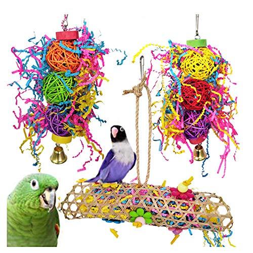 3 Piezas Juguetes para Pájaros Que Cuelga la Perca Juguete Colorida para Masticar Juguete para Pequeños y Medianos Loros de Aves para Periquitos,Cockatiels,Cacatúas,Pinzones,Pájaros del Amor
