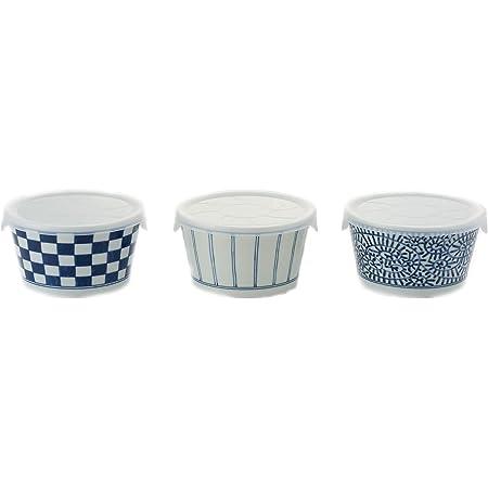 西海陶器(Saikaitoki) 小鉢 ホワイト/ブルー 320ml 藍絵変りノンラップ鉢(小・3柄組) 鉢/約径10.5×高6.0cm、蓋セット:約径11.3×幅11.5×高6.3cm 20313573