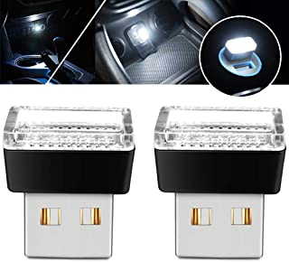 USB LED Atmosphere Lights Mini Car Interior Ambient Lighting Kit-Universal (White, 2 pcs)