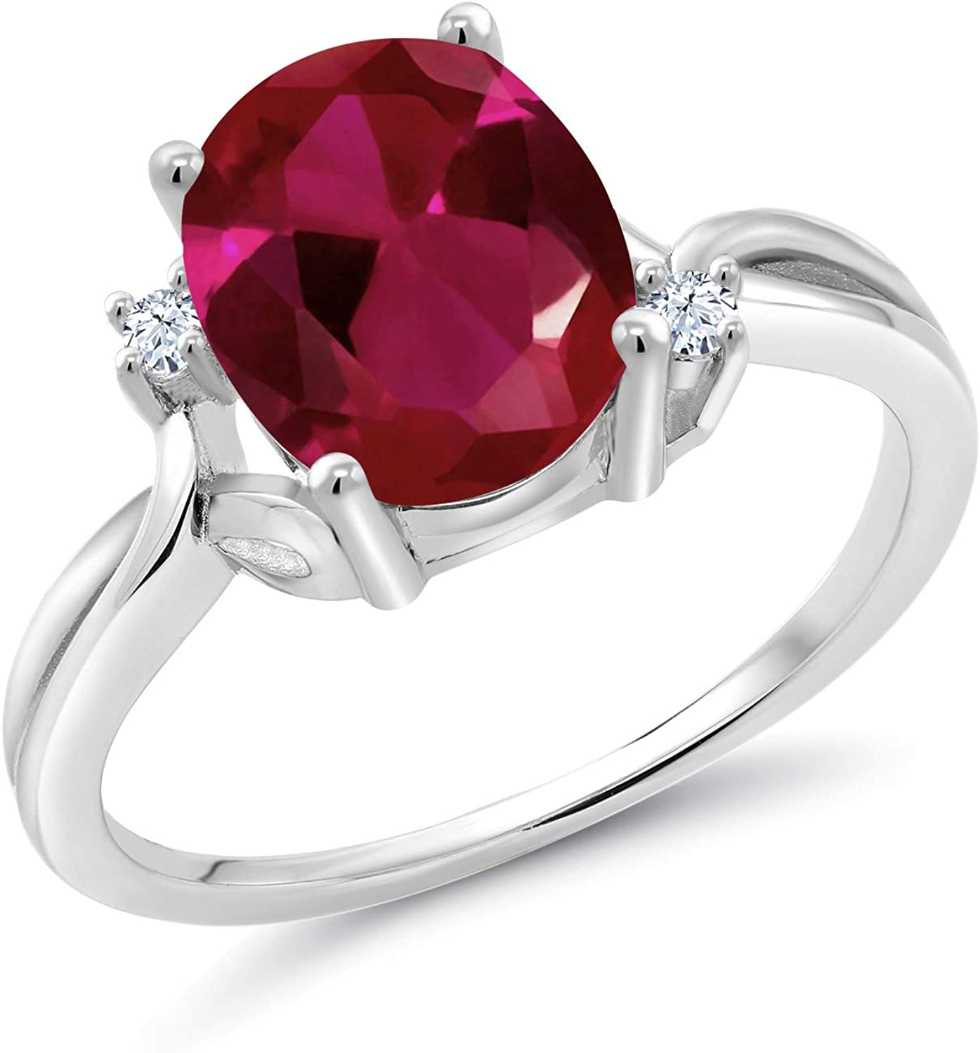 Gem Stone King 2.53 Ct Detroit Mall Oval Sapph White Ruby Popular Created Red