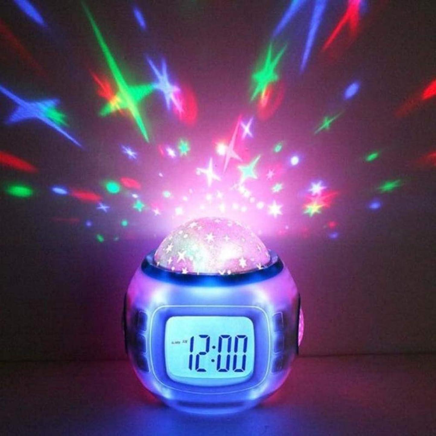 冒険マキシム変位子供ベビールームカレンダー温度計ナイトライトプロジェクター用C-清LEDデジタル音楽目覚まし時計スヌーズ星空スター輝く目覚まし時計