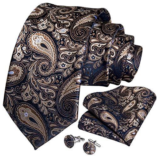 WOXHY Cravate Homme Mariage Or Bleu Paisley Fashion Business Design Hanky Boutons de Manchette Cravate Ensemble