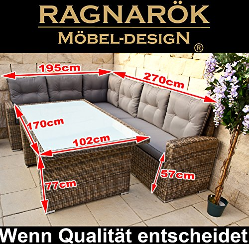 Ragnarök-Möbeldesign DEUTSCHE Marke - EIGNENE Produktion 8 Jahre GARANTIE auf UV-Beständigkeit PolyRattan Gartenmöbel Tisch + Dinning Lounge - 2
