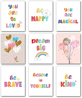 Avamie 9 Pieces Inspirational Quotes and Motivational Wall Art Prints for Kids, Colorful and Vibrant Colors, 8x10 inch Unf...