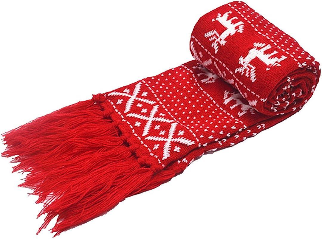 Sun Kea Winter Warm Knitted Scarf Reindeer Pattern Christmas Neck Warmer Fashion Fringed Neckerchief Neck Wrap