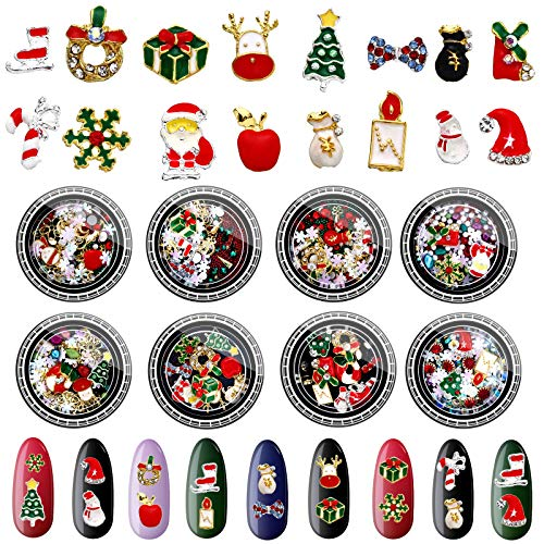 8 Boxes 3D Christmas Nail SequinsChristmas Nail Art Rhinestones Colorful Metal Studs Christmas Santa Reindeer Snowman Nail Supplies 3D Nail Art DIY Craft Decorations for Women Girls