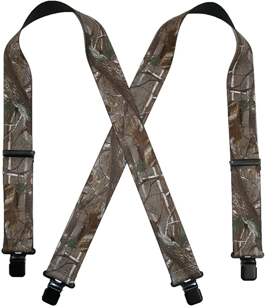 Realtree Men's Big and Tall Elastic Clip-End 2 Inch Camo Suspenders USA Made