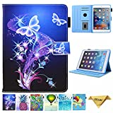 JZCreater Case for iPad Mini 1/2/3/4 - Folio Stand Wallet Case, Auto Sleep/Wake Feature for Apple iPad Mini 123/ iPad mini 4, Purple Butterfly