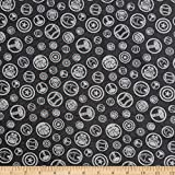 Marvel 0661011 Avengers Hero Symbols in Charcoal Fabric