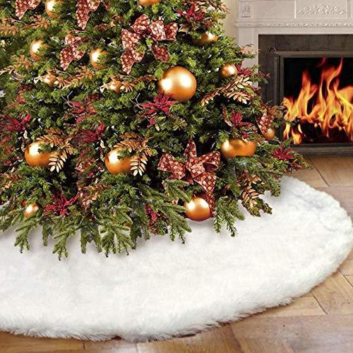 iMucci Gonna Albero di Natale innevato Bianco Peluche Velluto – Holiday Party Decorazione, White, (36inch/91cm)
