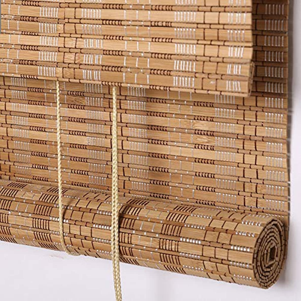 PASSENGER PIGEON Bamboo Roller Shades, Light Filtering Roll Up Blinds with Valance, 33