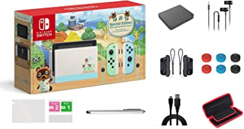 Nintendo Switch Animal Crossing: New Horizons Edition 32GB Console Bundle, Pastel Green and Blue Joy-Con, 6.2
